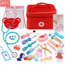 Kids Pretend Play Wooden Doctor Toys Red Medical Kit Medicine Box Set Cloth Bag