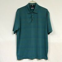 Nike Golf Standard Fit Dri Men's Polo Shirt Size L Large Green Blue Striped