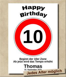 Personalisiertes Geburtstagsgeschenk Kindergeburtstag 10 Jahre Verkehrsschild