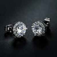 10mm Men Women Silver Post Stud Crown Cubic Zirconia Earrings Gift Box