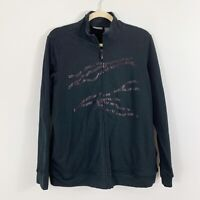 ADDITIONS by CHICOS Women's Full Zip Black Sequin Jacket Size Large Long Slvs
