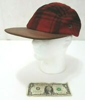 Polo by Ralph Lauren Red - Buffalo Wool Plaid Flannel Cap Hat Leather Bill  RARE