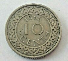 1966 SURINAME (Netherlands) 10 CENTS Nickel Colonial Pays bas Colonie