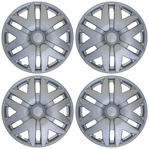 """4 PIECES Hub Cap ABS Silver 15"""" Inch Rim Wheel Cover Hubcaps Set Caps Covers"""