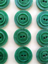 """Vintage Buttons - 24 Green Raised Center 2-hole Casein 7/8"""" Buttons - France"""