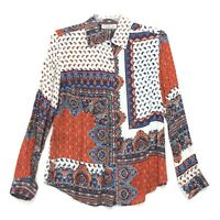 New Direction Shirt Womens Size S Small Paisley Multicolor Long Sleeve Button-Up