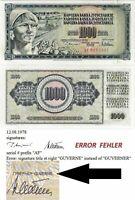 Jugoslawien UNC Banknote 1000 Dinara 1978 Belgrad P-92a mit druckfehler GUVERNE