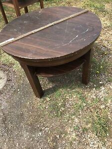 Wohnzimmertisch, Holz, rund, alt, gebraucht Vintage Shabby