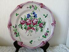 Superbe Ancienne Assiette Décorative en Faïence 18ème Florale avec support mural