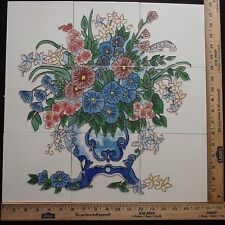 DECORATIVE CERAMIC TILES MOSAIC PANEL HAND PAINTED WALL ART MURAL  18in x 18in