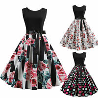 Women 50s 60s Rockabilly Style Sleeveless Evening Party Floral Swing Pinup Dress
