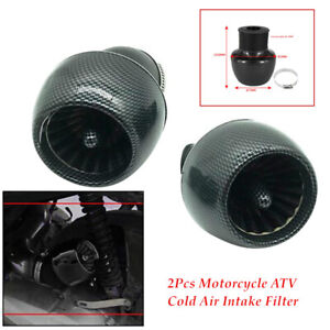 "2pcs Motorcycle Straight Pipe ATV Air Intake Filter 1.1""-1.9"" Adapter Universal"