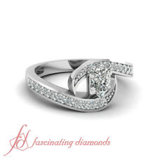 One Carat Pear Shaped Bypass Platinum Diamond Engagement Ring For Women GIA