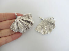 5pcs Tibetan Silver Large Ginkgo Leaf Weed Charms Jewelry Findings Pendant 53mm