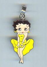 BETTY BOOP, Girl, Lady. Yellow Dress, fits European & Charm Bracelets - F933