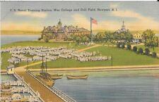 Newport RI US Naval Training Station War College Drill Field Postcard #n974