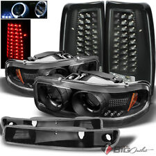 For 04-06 Sierra Black Halo Projector Headlights Bumper Set + LED Tail Lights