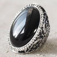 Neu STATEMENT RING mit SCHMUCKSTEIN Farbe silber/schwarz ELASTISCH großer Ring