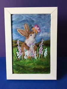 Handmade Needle Felted Picture Rabbit Animal Titled 'Fluttery Butterfly'