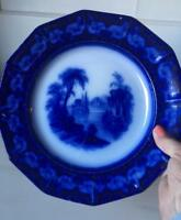 "Antique Flow Blue Plate Thomas Fell Excelsior 10.25"""