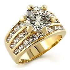 18K GOLD 4.0CT SIMULATED DIAMOND WEDDING RING sz 6 or M