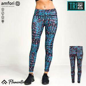 TriDri Womens Performance Neon Marine Leggings Fitness Pants Gym Sports Workout