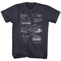 Back To The Future Movie Time Machine Blueprint Licensed Adult T Shirt