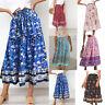 Women Boho Floral Elastic High Waist Skirt Pleated A Line Beach Long Midi Skirt