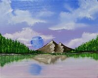 Moon Over the Lake (Original Acrylic Painting on Canvas)