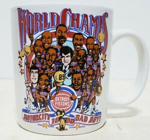 VTG NBA Detroit Pistons 1989 World Champs Motorcity Bad Boys White Coffee Mug
