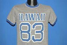 vintage 80s HAWAII 83 1983 RAYON TRI-BLEND HEATHER GRAY RINGER TOURIST t-shirt S