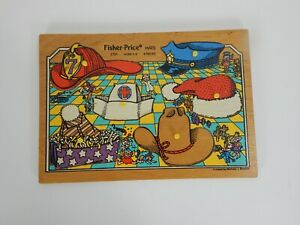 "Fisher Price Vintage Wooden Puzzle #2721 ""HATS"" Ages 1-3 6 Pieces"