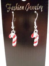NEW Silver Plated Christmas Xmas Candy Cane Dangle Charm Hook Earrings Handmade