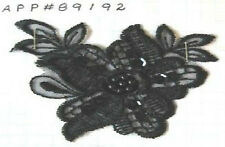 Black Embroidered Lace Beaded Sequined Patch Applique Bridal Doll Craft #89192