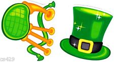 "3"" St patricks day leprechaun hat set holiday window cling decal cut out"