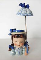 Napco Young Girl Head Vase Planter Umbrella Royal Blue Japan 5 Tall