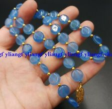 Natural 10mm Blue Aquamarine Coin Beads Gemstone Jewellery Necklace 18''