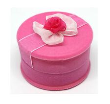 6pcs Luxury Rose Pink Circular Lace High Quality Velvet Ring Box