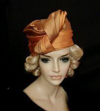 Vintage hat satin twists turban Mr Frank 1950 1960 gold copper taupe