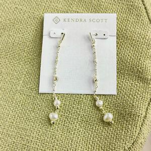 MUST HAVE Kendra Scott Scarlet White Pearl Gold Linear Earrings