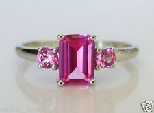 Beautiful 9ct White Gold Pink Sapphire Ring Sz N