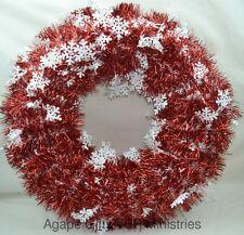 "Darice Christmas Artificial DIY Wreath - Metallic Tinsel Garland 20"" Red White"