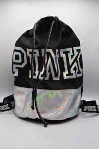 Victoria's Secret PINK Logo Drawstring Bag Travel Backpack Black Holographic