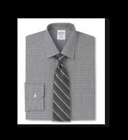 BROOKS BROTHERS  Regent Fitted Dress Shirt, Non-Iron Glen Plaid Black  $92