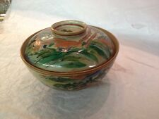Antique, Bowl w/cover,Porcelain, Hand painted, Green & Red 1850-1899, Japan