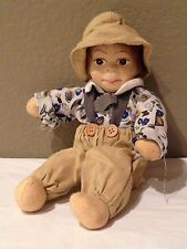 """Vintage  Reproduction Peasant Boy Hand Painted Bisque Head and Cloth Doll 11"""""""