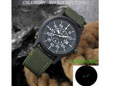 Men's Military Pilot Analog Quartz Calendar Black Watch Green Nylon Strap
