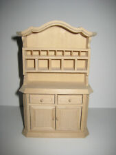 Dollhouse Miniature Kitchen Hutch Display Cabinet Unfinished Wood 1:12 Scale