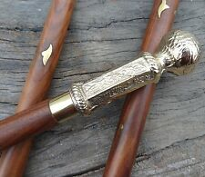 Vintage Wooden Walking Stick /Cane Victorian Design Brass Handle Walking Sticks