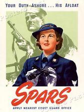 """Women's Coast Guard Reserve"" 1944 Vintage Style WW2 War Poster - 18x24"
